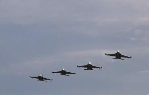 Боевая авиация в небе над Домановским полигоном в ходе учения