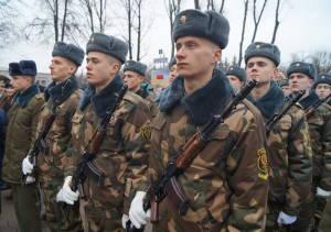 Личный состав воинских частей Гродненского гарнизона в ходе митинга