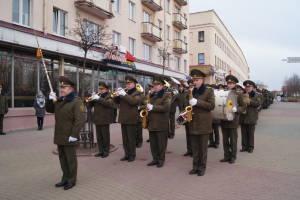 Военный оркестр в ходе праздника